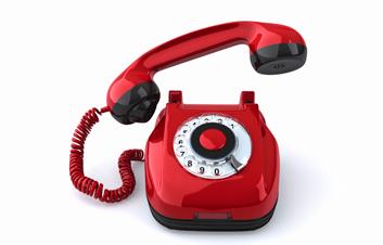 Onrázek červeného telefonu výpadek
